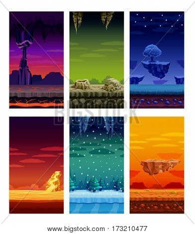 Electronic computer video games 6 beautiful screen display fantastic landscapes elements set colorful cartoon isolated vector illustration