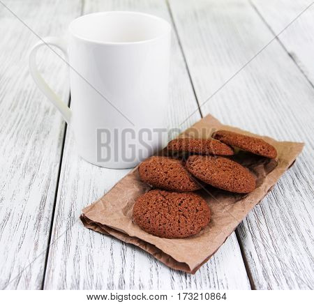 Oatmeal Cookies And Cup Of Milk