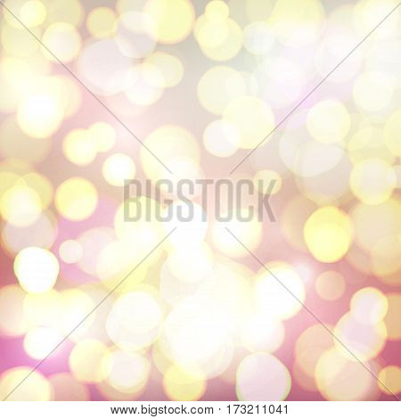 Abstract background with colorful defocused bokeh circles. Lights of big city. Celebrating glowing backdrop. Bright vector illustration.