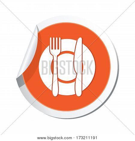 Orange sticker with restaurant icon. Vector illustration