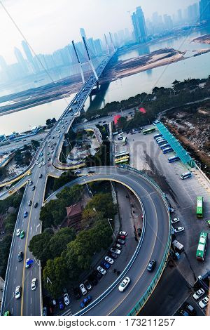 sunrise view of urban traffic with cityscape in Shenzhen,China.