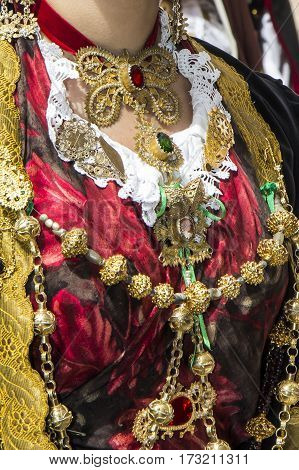 CAGLIARI, ITALY - May 1, 2013: 357 Religious Procession of Sant'Efisio - Sardinia - detail of a traditional Sardinian costumes