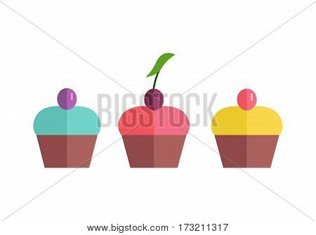 Color cakes vector Illustration. Flat design. Home baking. Three tasty sweet buns cover glaze with caramel berry on top. Icons for bakery, confectionery, cafe advertising, menu, app pictogram.
