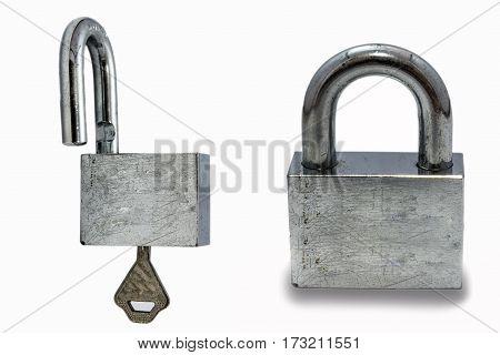 Old Master Key Rusty And Key Lock On White Background