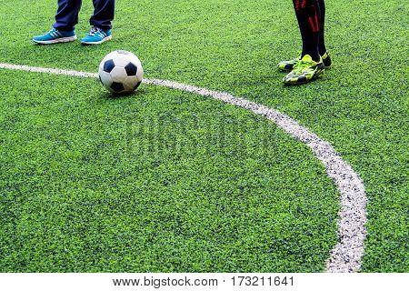 Footballer prep to shoot penalty on field