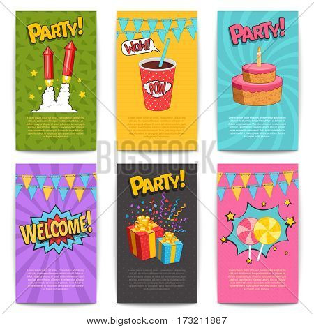 Carnival comic posters set with fireworks and presents symbols flat isolated vector illustartion