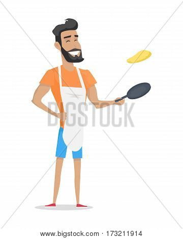 Young handsome man with orange T-shirt, blue shorts and white apron cooking pancakes. Smiling man with beard cooking. Man with pan. Isolated vector illustration on white background
