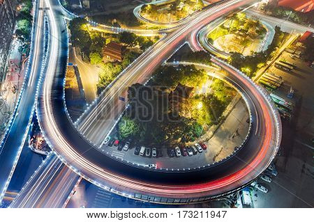 aerial view of urban traffic with cityscape in Shenzhen at night,China.