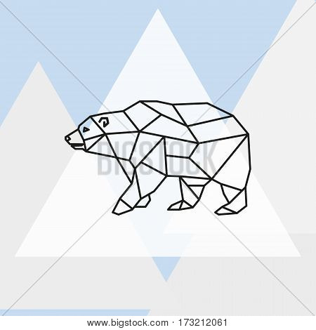 Vector illustration polar bear stylized triangle polygonal model.