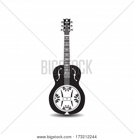 Vector illustration of dobro american resonator guitar isolated on white background. Black and white resophonic guitar.