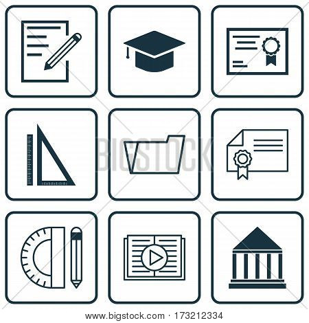 Set Of 9 Education Icons. Includes Measurement, Diploma, Graduation And Other Symbols. Beautiful Design Elements.