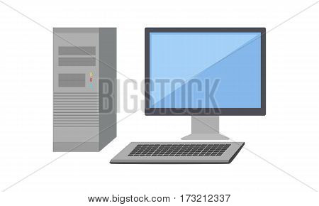 Gray computer system unit and computer monitor with blank screen in flat. Desktop computer. Computer icon. Isolated object on white background. Vector illustration.