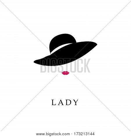 Woman with pink lips in fashion hat. Abstract vector logo design template with girl silhouette. Concept for beauty salon accessories fashion cosmetics.