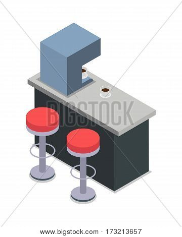 Coffee shop bar counter with two red chairs isolated on white. Bar interior design flat. Interior of a cafe or a pub with furniture and chairs. Automatic coffee machine. Vector illustration