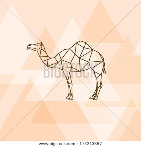 Camel polygonal style on orange background. Vector illustration.