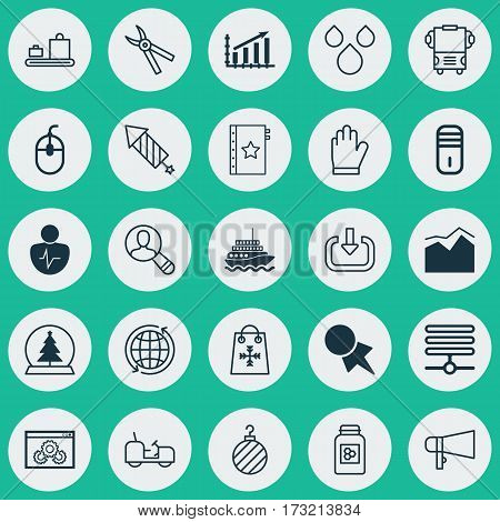 Set Of 25 Universal Editable Icons. Can Be Used For Web, Mobile And App Design. Includes Elements Such As Profit Graph, Magic Sphere, Transport And More.