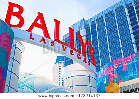 Las Vegas, NV, USA - October 10, 2016: Ballys Las Vegas in Nevada. Bally's is located on the Strip and has over 2,800 rooms available for guests.