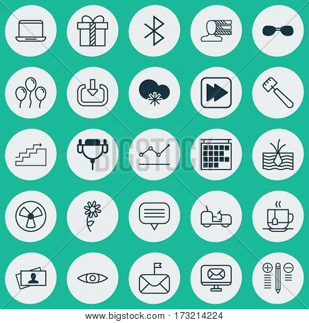 Set Of 25 Universal Editable Icons. Can Be Used For Web, Mobile And App Design. Includes Elements Such As Growing Plant, Significant Letter, Gift And More.
