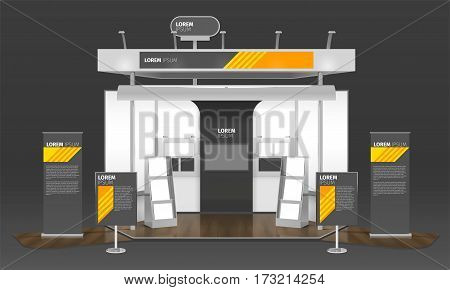 Realistic exhibit stand design with composition of advertising poster panels logotypes information boards and tv screen vector illustration