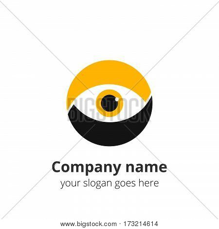 Eye Logo flat design vector template. Colorful media icon. Creative Vision Logotype concept. Yellow Eye Logo vision.
