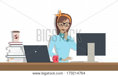 Young woman works on his desktop in office, sitting at desk, looking at computer monitor screen. Woman in glasses personage. Illustration with computer monitor, laptop, stack of books with paper cup.