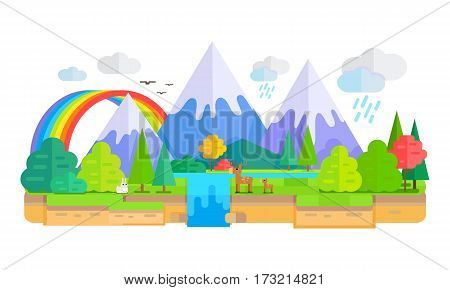 Wild Nature landscape vector. Flat style. Illustration with snow-capped peaks, animals, trees, waterfall, rainbow, clouds. Banner for environmental, ecological concepts and web page design.