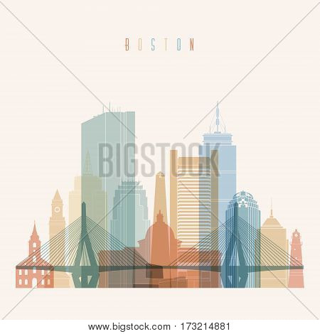 Boston Massachusetts city skyline silhouette. Transparency style poster. Vector illustration.