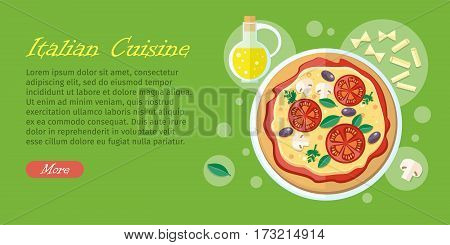 Italian cuisine web banner. Pizza with tomatoes, pasta, mushrooms, olive oil flat style isolated on white. Illustration for pizzeria, restaurant ad, logo design, delivery service. Vector illustration