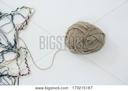 Close-up of yarn ball on white background