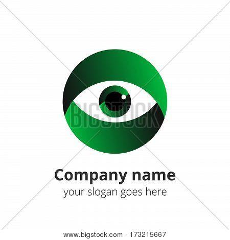Eye Logo design vector template. Colorful gradient media icon. Creative Vision Logotype concept. Green Eye Logo vision.