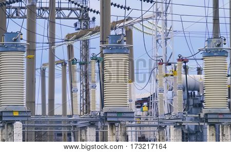 The electric wires on a high-voltage power