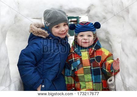 Two Brothers In Snow House
