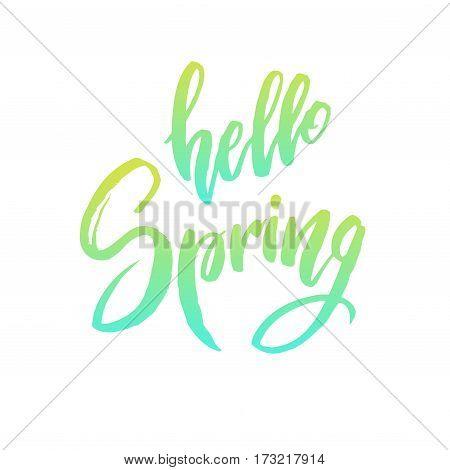 Calligraphy quote hello spring. Handwritten lettering on white background isolated, modern brush pen lettering Vector illustration stock vector.