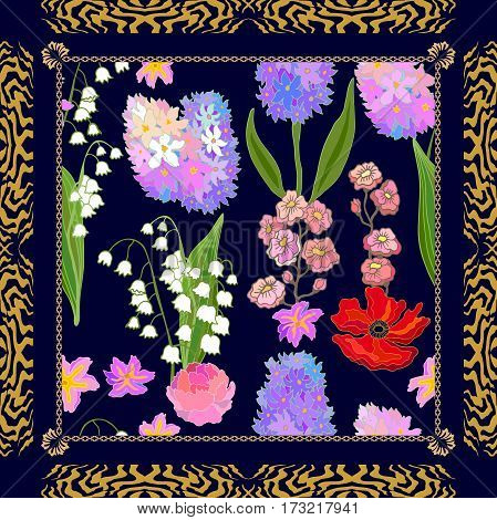 Gypsy motifs, vintage wildflowers. Ethnic textile collection.