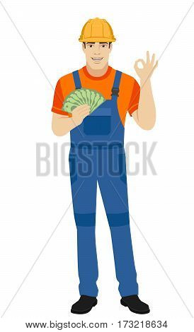 OK! Builder with money show a okay hand sign. Full length portrait of builder in a flat style. Vector illustration.