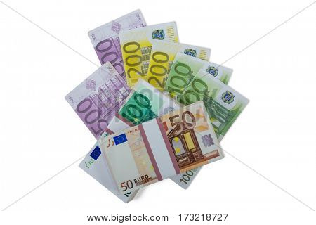 Close-up of euro banknotes money on white background