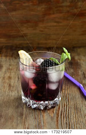 Cocktail with blackberry lemon and mint, vertical