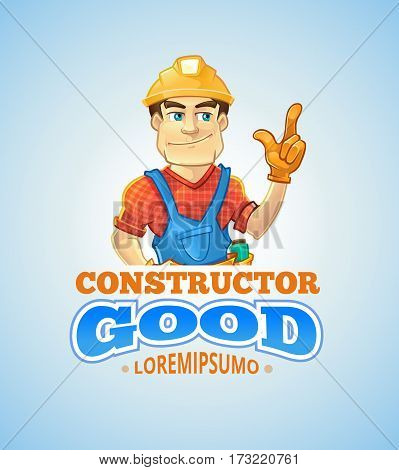 builder or handyman in helmet pointing top. Color Vector emblem badge or logo isolate on light background