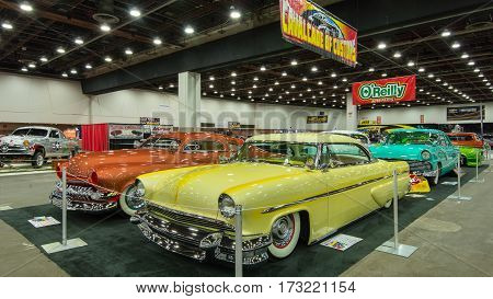 DETROIT MI/USA - February 24 2017: 1955 Lincoln on display in the Cavalcade of Customs at the Detroit Autorama hot rod show.