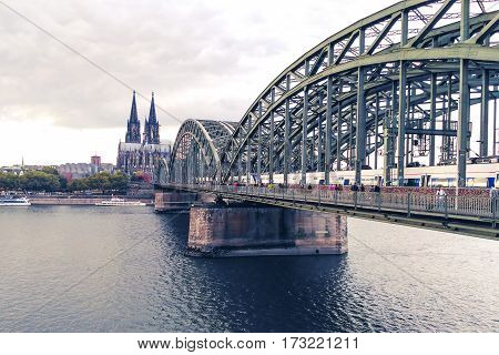 Cologne center bridge dome church western Germany.