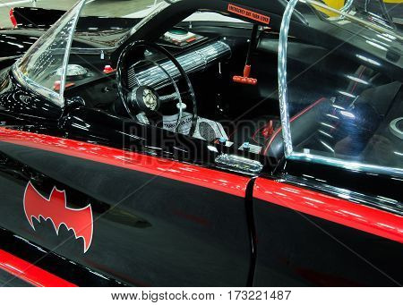 DETROIT MI/USA - February 24 2017: 1966 Batmobile interior, a 1955 Ford Lincoln Futura concept from the