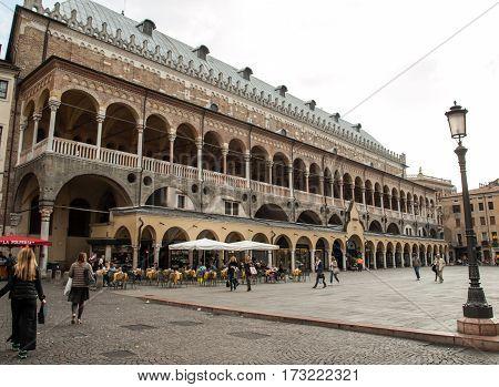 PADUA  ITALY - MAY 3 2016: Palazzo della Ragione on Piazza della Frutta in Padue Italy