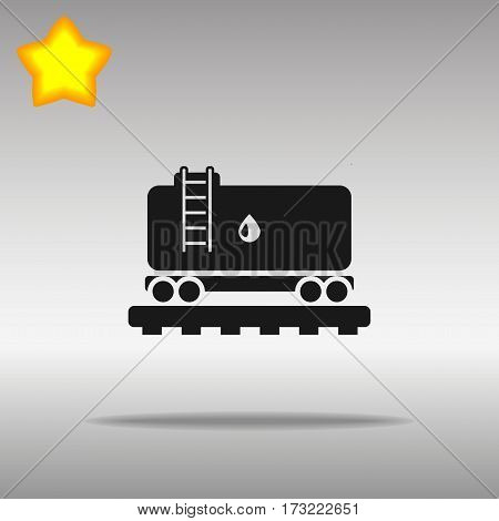 black Railroad Tank with oil Icon button logo symbol concept high quality on the gray background