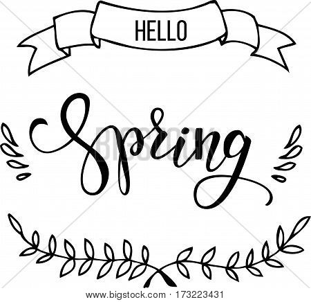 Original hand lettering Hello Spring and pattern for invitation and greeting card prints and posters. Hand drawn inscription calligraphic design.