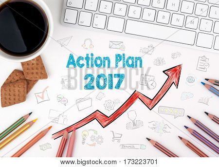 Action Plan 2017, Business concept. White office desk.