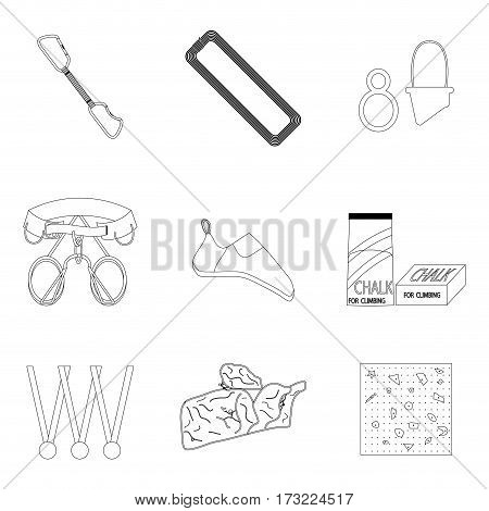 Sports equipment for climbing line icons. Mountaineering and belay for belt vector illustration