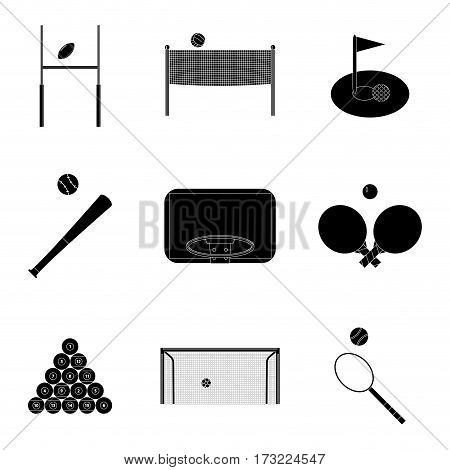 Sport icons set black silhouette. Snooker and baseball tennis and billiard vector illustration