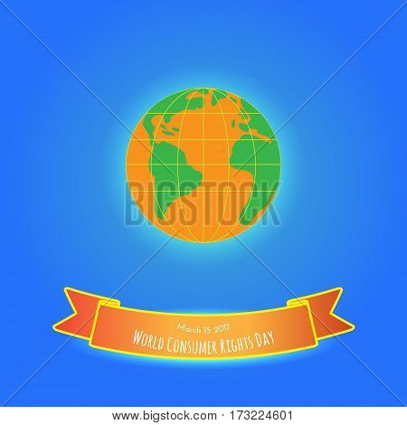 Earth on blue background. Could be used in World Customers Day vector illustration.