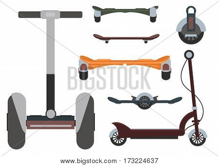 Mono wheel isolated roller scooter. Balance bikes. Different scooters eco alternative city transport. Flat design biking and rolling wheels. Vector balance kick scooter segway. Push cycle gyroscooter.