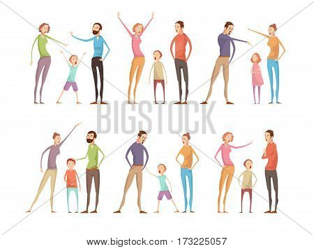 Adults abuse children compositions set with isolated parents and teenagers full length characters having family argument vector illustration